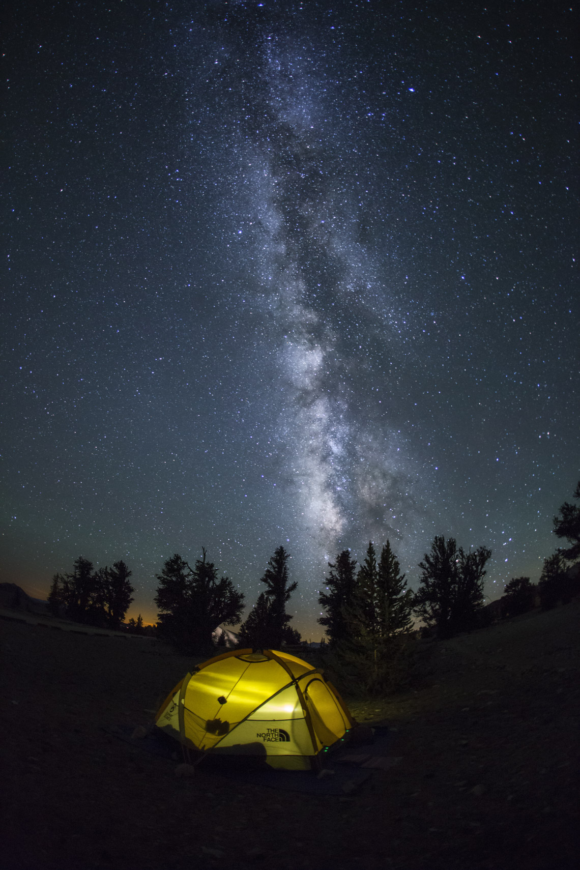 Milk way over a tent