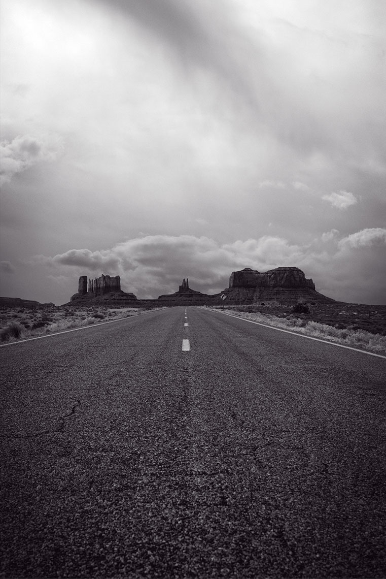 Monument Valley  from the road B&W