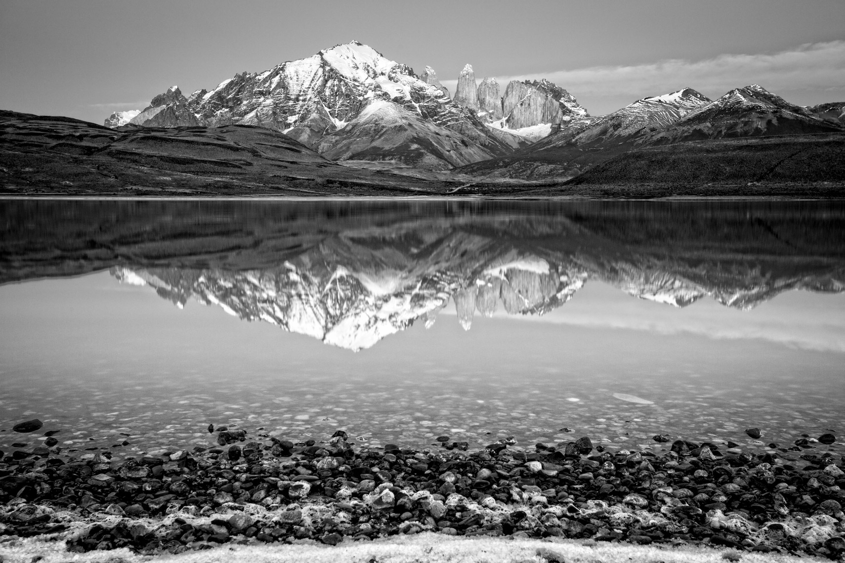 Torres del Paine in black and white